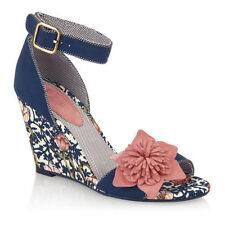 Ruby Shoo Wedge Peep Toes Textile Heels for Women