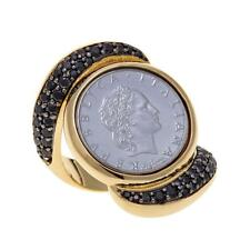 BELLEZZA 50 LIRA COIN 1 CTW BLACK SPINEL YELLOW BRONZE KNUCKLE RING SIZE 8 HSN