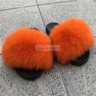 Fluffy Slippers Real Fox Fur Slides Furry Slid Women's Sandal Indoor Flat Shoes