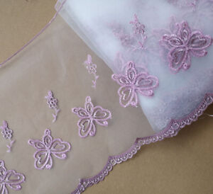 "9"" Wide White Organza Lace with Embroidered Pink / Silver Butterfly eh0242"