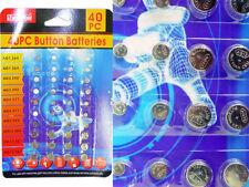 40pc assortment Button Cell  Battery Alkaline AG1 AG3 AG4 AG5 AG12 AG13 NEW AD62