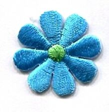 DAISY SMALL BLUE & GREEN IRON ON APPLIQUE   1 1/2 X 1 1/2 inch