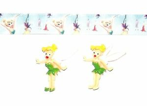 TINKER BELL Hair Bow Supplies -1 yd Ribbon and 2 Flatback Resins SALE