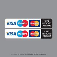 2 x Card Payments Accepted Sticker Credit Card Taxi Shop VISA Mastercard SKU2509