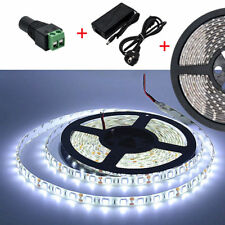 5m 300 LEDs Flexible Bright LED Strip Lights 12v Waterproof 5050 SMD Cool White No White