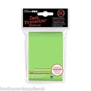50 Ultra Pro Trading Card Sleeves - Standard Lime Green Deck Protectors.