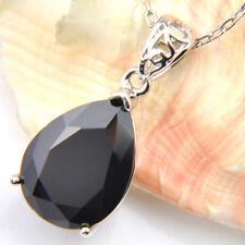 Hot Sale Water Drop Black Onyx Gems Silver Necklace Pendants Woman Jewelry