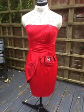 LIPSY Red Satin Strapless Dress. Diamanté. Size 12. Party. Christmas. Prom