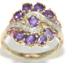 LADIES 9CARAT 9CT YELLOW GOLD DIAMOND, AMETHYST & PINK STONE RING SIZE N 1/2