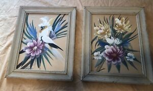 Vintage Pair Tropical Floral & Cockatoo Bird Acrylic Paintings Framed Original