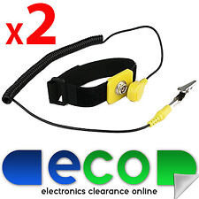 2 x Anti-Static 2m ESD PC Discharge Grounding Wristband Wrist Strap / Band Cable