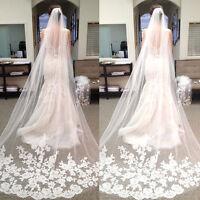 3M Elegant Long White/ivory Lace Edge Cathedral Length Bridal Wedding Veils