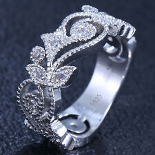 925 Silver Natural 0.56CT White Topaz Flower Wedding Engagement Ring Size 9