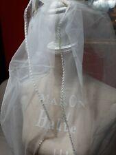 Velo Sposa Nuovo Lungo con bordi in paillettes , tulle bianco, 3 metri