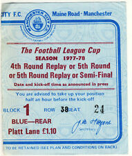 Ticket: Manchester City v Arsenal 18/1/1978 League Cup