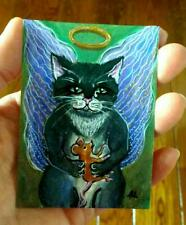 New listing Original Aceo Atc Print Cat Angel Kitty with Mouse Painting Fairytale Art