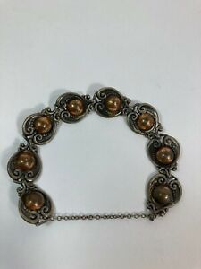 Antique Margot de Taxco Mexican sterling mixed metal bracelet