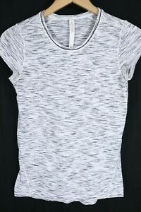 LULULEMON Womens size 2 Run Swiftly Tech White Grey Short Sleeve Yoga Run Shirt