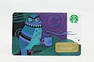 Starbucks Coffee 2014 Gift Card Night Owl Moon Mug Cup Purple Zero Balance Value