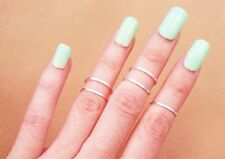 retro 5P/Set Rings Urban silver stack Plain Above Knuckle Band Midi Ring #4 HS26