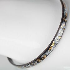 Vintage Emaille Armreif ∅ 6,2 Blumen Schmuck 70er schwarz, gold, weiß Armring 23