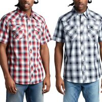 True Religion Men's Western Woven Short Sleeve Button Down Shirt