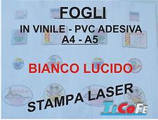 Carta ADESIVA A5 BIANCA  LUCIDO* stampanti laser * 30 fogli * PVC VINILE