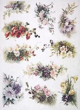 Rice Paper -A/3 Flower Bouquets- for Decoupage Decopatch Scrapbook Craft Sheet