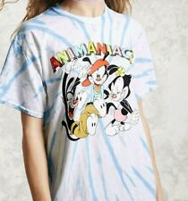 Women's Blue Cartoons Animaniacs Graphic Tie-dye Tee shirt New