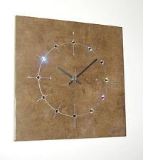 Kristalle Swarovski Elements Design Funk Wanduhr Stein braun silber Küche Uhr