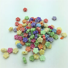 50pcs Mixed Flower Acrylic Perforation beads Children Kid DIY Jewelry Making #30