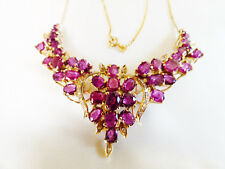 VTG Custom Made 14k yellow gold 16.55 TCW Ruby & Diamond Floral design Necklace