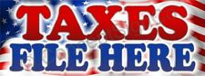 3'X8' TAXES FILE HERE BANNER Signs LARGE IRS Income Returns Refunds eFile Tax