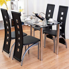 Modern Dining Table Tempered Glass Top Steel Frame Kitchen Breakfast Furniture