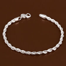Wholesale 925 Silver Bracelet 4mm Twisted Chain Fashion jewelry Party Gift