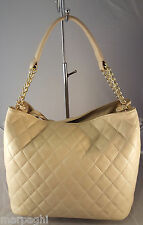 borsa da donna in vera pelle made in italy nuova  bag leather beige trapuntata