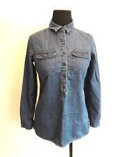 Old Navy Jean Denim Blue Shirt Women's Size XS Long Sleeve Half Button Down Top