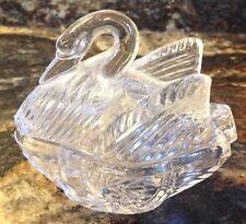 Vintage Lead Crystal Glass Swan Trinket Box