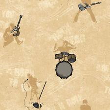 Rock & Roll Band Silver & Gold on Beige Sure Strip Wallpaper CK7790