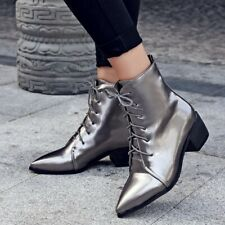 Womens Punk Chunky Block Heels Combat Boots Pointed Toe Lace Up Ankle Boots Size