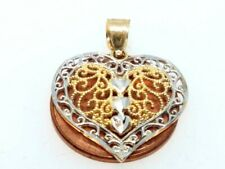 14k SOLID REAL GOLD HEART DIAMOND CUT YELLOW WHITE pendant charm 1.3g 1.00""