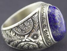Sterling silver men ring handmade, lapis lazuli natural gemstone, steel pen craf
