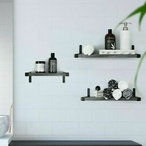Under.Stated Wall Mounted MDF Shelves | Rustic Grey | Set of 3 | Metal Brackets