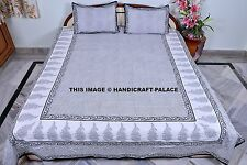 Indian Cotton Bedspread Bed Cover With 2 Pillow Cover Queen Bedding Throw Hippie