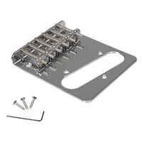 6 Metal Flat Saddle Bridge Telecaster Vintage Style Chrome  For Electric Guitar