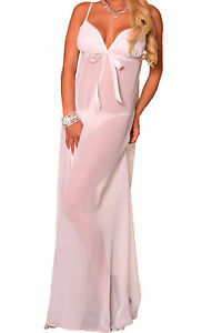 Chiffon Long Gown With G-String