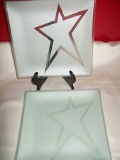 "RIVERSIDE DESIGNS PLATES WITH PURPOSE ART  GLASS 9"" PLATE SET 4 STAR USA"