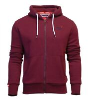 Superdry Mens New Orange Label Classic Long Sleeve Full Zip Hoody Burgundy Marl