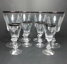 Set of 4 Crystal Wine Glass 8oz each and 4 Shot Glasses 2oz each Stemware Silve