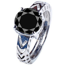 Diamond Round .925 Silver Ring 2.46 ct Aaa Black Real Moisanite